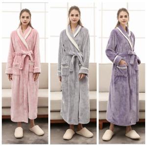 Womens Coral Fleece Bath Robe Lightweight Dressing Gown Robe Sleepwear quality