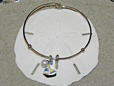 New Vantel Pearls Silver Tone Sailboat Charm Bangal Bracelet 7.5mm White B1328