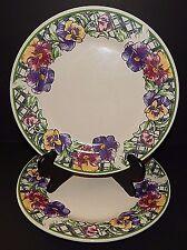 2 Gibson Purple Pansy Pansies u0026 Green Lattice Dinner Plates Floral Pattern & Gibson Floral Dinnerware Plates | eBay