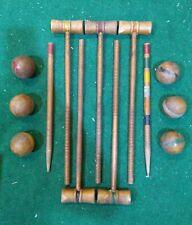 Antique Vintage HARDWOOD CROQUET SET 5 Wood MALLETS & 6 BALLS Nice Patina