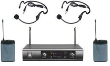 Professional UHF Wireless Cordless Dual Headset Microphone System Free Shipping