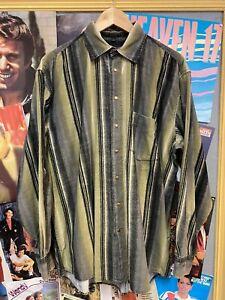 VINTAGE CORD SHIRT SIZE L XL KHAKI GREEN STRIPE 90s OVERSIZED by LE FROG (f185)