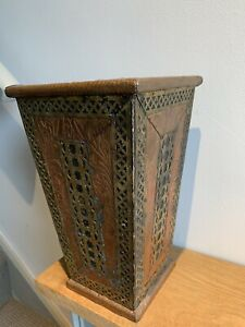 Ornate Vintage Copper Brass Wood Pot Vase Umbrella Stand. Bin ? Multi Use