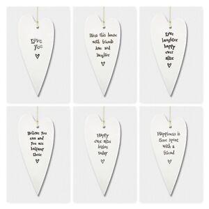 East of India Long Wobbly White Porcelain Sayings Heart Sign Family Gift 15cm