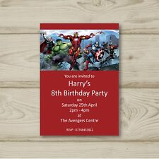 Avengers Superheroes Birthday Party Invitations Personalised