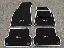 Schwarz/Weiß Fußmatten passend für Audi S4 B6/B7 03-08 + S4 Logos x4 + Schrauben