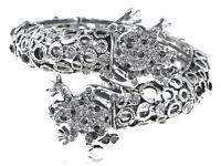 Black Crystal Rhinestone Twin Frog Couple Bracelet Bangle Cuff Halloween Jewelry