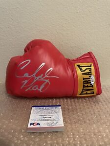 Caleb SweetHands Plant Signed Red Small Everlast Boxing Glove PSA/DNA Coa 21-0