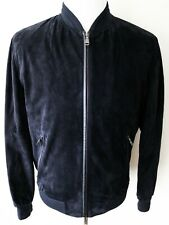 $6150 BRIONI Navy Blue Suede Leather Bomber Jacket Coat Size 46 Euro 36 US XS