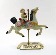Vintage Albert E Price Carousel Horse Boy with Teddy Bear on Ornate Brass Stand