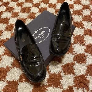 AUTHENTIC PRADA PENNY LOAFERS PATENT LEATHER 40.5