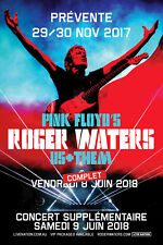 "ROGER WATERS ""US + THEM"" 2018 PARIS CONCERT TOUR POSTER - Prog Rock, Pink Floyd"