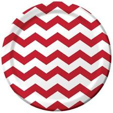 "Chevron Polka Dots Classic Red Modern Party Supplies 9"" Paper Dinner Plates"