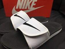 Nike Kawa Adjust Mens 834818-101 White Black Logo Strap Slide Sandals Size 10