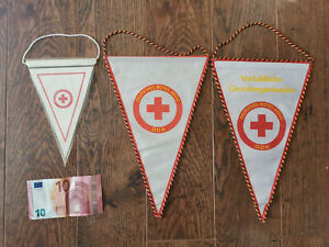 3 Wimpel DRK DDR * Deutsches Rotes Kreuz * Vorbildliche Grundorganisation