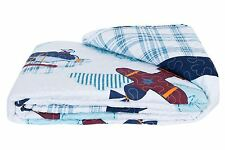 AIRPLANE AEROPLANE BEDSREAD EMBROIDERED COTTON MADE IN NETHERLANDS 140 X 220CM