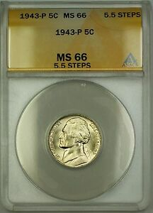 1943-P 5.5 Steps U.S. Wartime Silver Jefferson Nickel 5c Coin ANACS MS-66 (A)