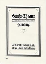 Hansa-Theater Hamburg Reklame von 1926 Deutsche Schauspielhaus