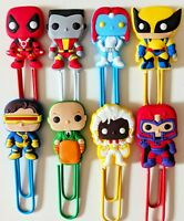 Xmen Deadpool Wolverine Paperclips bookmarks x8 cute kids birthday party gifts