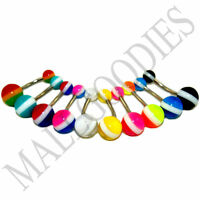 W095 Acrylic Belly Rings Bars Barbells Stripes Shape Design LOT 10 colors Rasta