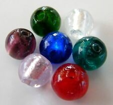 30pcs 12mm Round Silver Foil Lampwork Glass Beads - Mixed