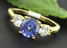 1.60 ct 14k Solid Yellow Gold Ladies Natural Tanzanite Diamond Ring  3 stone