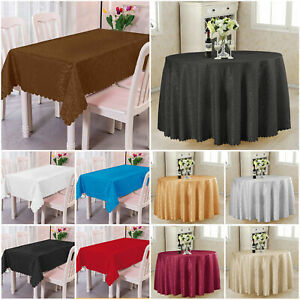 Wipe Clean Tablecloth Damask Jacquard Rectangle Round Floral Tableware OR Napkin