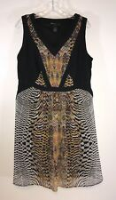 Lane Bryant Dress Size 14 Tribal Animal Print Black Gold Sleeveless Semi Sheer