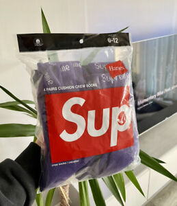 Supreme Hanes Purple Socks One Pair Size 6 To 12 Designer Comfy Sold Out