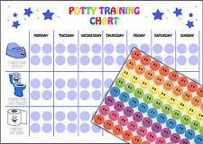 REUSABLE Boys Potty Training Reward Chart, 88 Smiley Face Stickers, A4 Chart