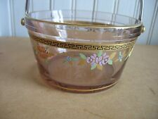 FOSTORIA glass ICE WHIP CREAM Sugar TUB BUCKET Pail Bowl Hdptd  florals #2378
