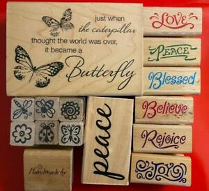 15 ASSORTED RUBBER STAMPS Please Look at Pictures PRE-OWNED Free Shipping