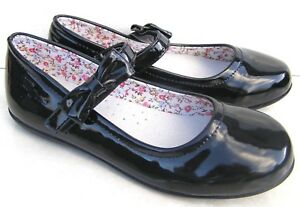 NEW GIRLS LEATHER INSOLES BLACK PATENT BALLERINAS SMART STRAP PUMPS SCHOOL SHOES