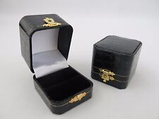 Luxury Antique Style Black Single Mock Croc Ring Box With Metal Clasp