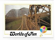 THE TIMBER WOLF ROLLER COASTER~SCENERY FLIES BY,WORLDS OF FUN~KANSAS CITY,MO