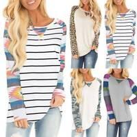 Women Striped Leopard Camo Jumpers Baseball Tops Blouse Raglan Long Sleeve Shirt
