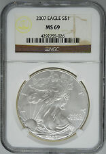 2007 NGC MS 69 $1 Silver American Eagle (Uncirculated 1 oz)