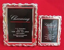 "Pair of New CHARMING Silvertone Photo Frames 3.5"" x 5"" & 5"" x 7"""