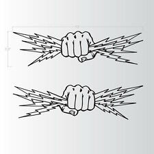 "Fist Lightning Bolts Electrician Power Set of 2 BLACK Decal Stickers 13""x3.5"""