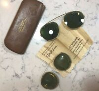 Vintage Sunglass Lenses Clip On Greensboro NC Soft Lite Green Glass 2 pr