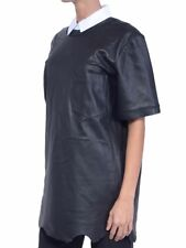 ALEXANDER WANG Black Leather T-Shirt with Pocket US2 NEW