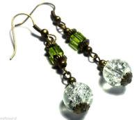 Clear & Green Glass Bronze Earrings Drop Dangle Antique Vintage Style Pierced