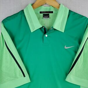 NIKE TIGER WOODS Size XL Perforated/Vented Green Ombre Golf Polo Shirt Casual