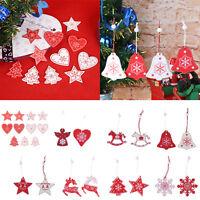 12pcs/10pcs Wood Christmas Beads Tree Hanging Ornament Xmas Party Pendant Decor