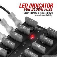 10-Way Circuit Blade Fuse Block Box LED Indicator 32V Holder Automotive Car Boat