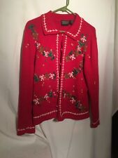 Cardigan CHRISTMAS SWEATER by Rebecca Malone Red Gingerbread Man Women Size M