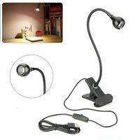1/2pcs Bright USB Flexible Reading LED Light Clip-on Beside Bed Desk Table Lamp