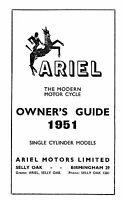 (0130) 1951 Ariel single Cylinder Models owners guide.