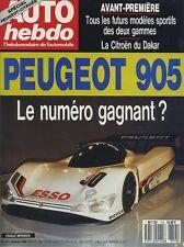 AUTO HEBDO n°714 du 14 Février 1990 PEUGEOT 905 MERCEDES 300 CE 24