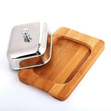 Butter Dish Box Container Cheese Server Storage Keeper Bamboo Tray Mirror Lid